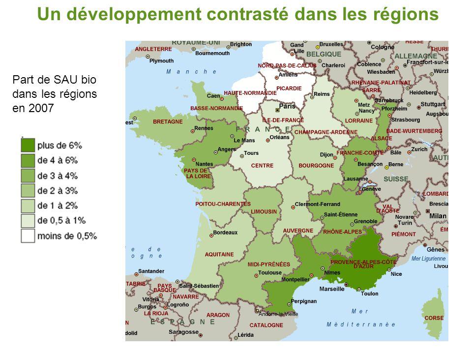Un développement contrasté dans les régions Evolution de l'agriculture biologique dans les régions entre 2006 et 2007