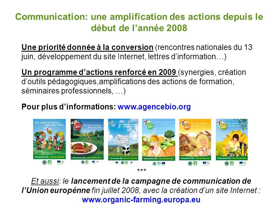Communication: une amplification des actions depuis le début de l'année 2008 Une priorité donnée à la conversion (rencontres nationales du 13 juin, dé
