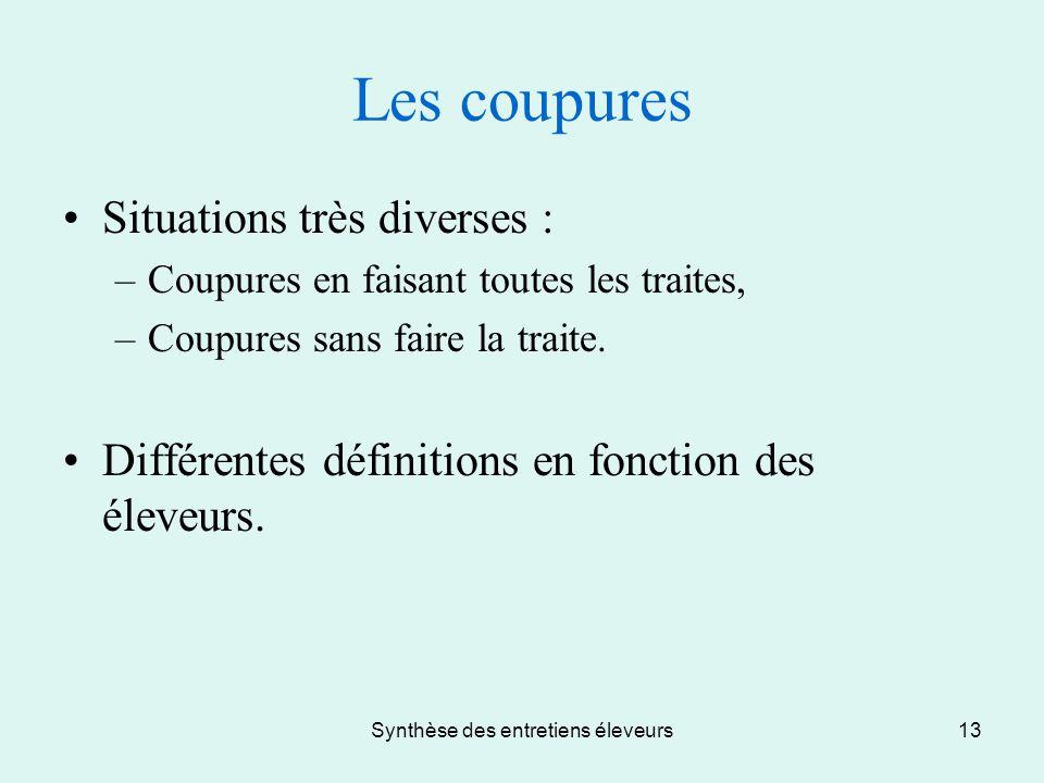 Synthèse des entretiens éleveurs13 Les coupures Situations très diverses : –Coupures en faisant toutes les traites, –Coupures sans faire la traite.