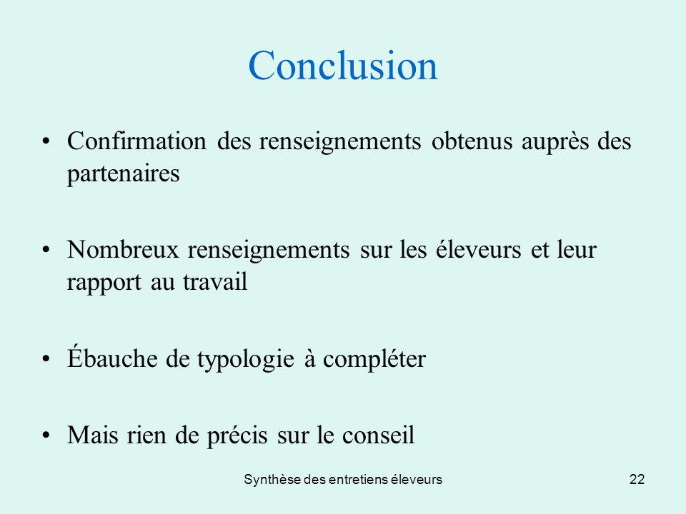 Synthèse des entretiens éleveurs22 Conclusion Confirmation des renseignements obtenus auprès des partenaires Nombreux renseignements sur les éleveurs