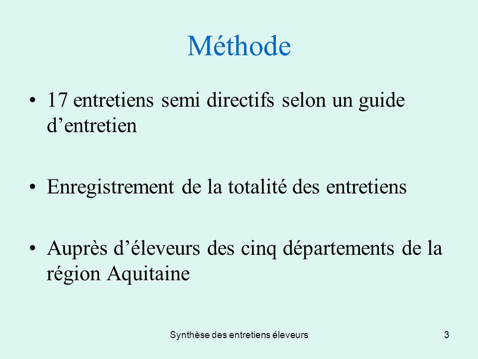 Synthèse des entretiens éleveurs3 Méthode 17 entretiens semi directifs selon un guide d'entretien Enregistrement de la totalité des entretiens Auprès d'éleveurs des cinq départements de la région Aquitaine