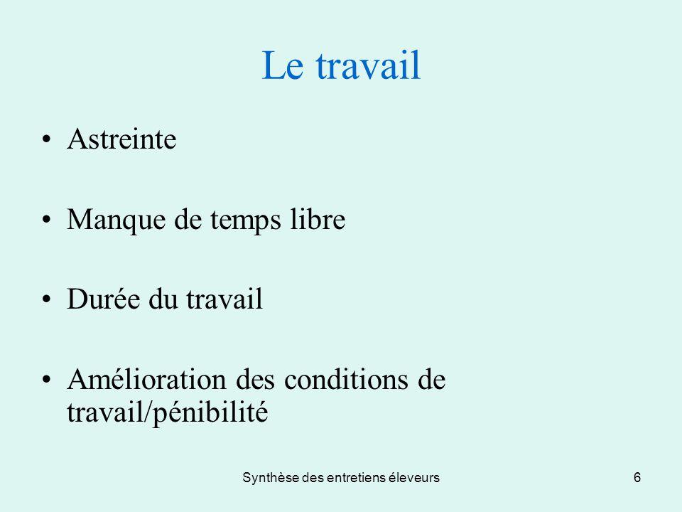 Synthèse des entretiens éleveurs6 Le travail Astreinte Manque de temps libre Durée du travail Amélioration des conditions de travail/pénibilité