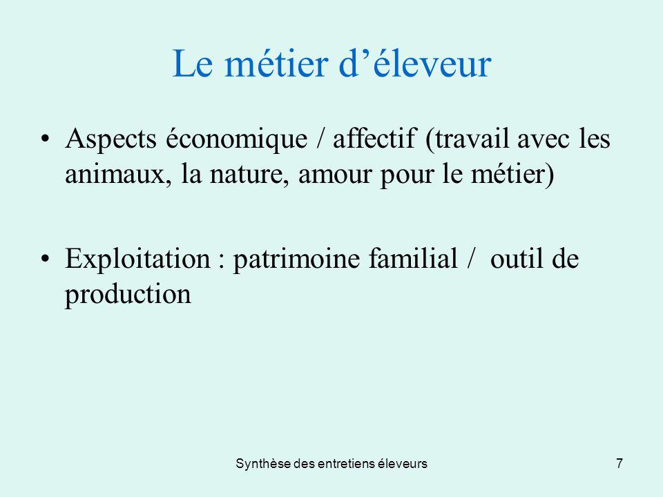 Synthèse des entretiens éleveurs7 Le métier d'éleveur Aspects économique / affectif (travail avec les animaux, la nature, amour pour le métier) Exploi