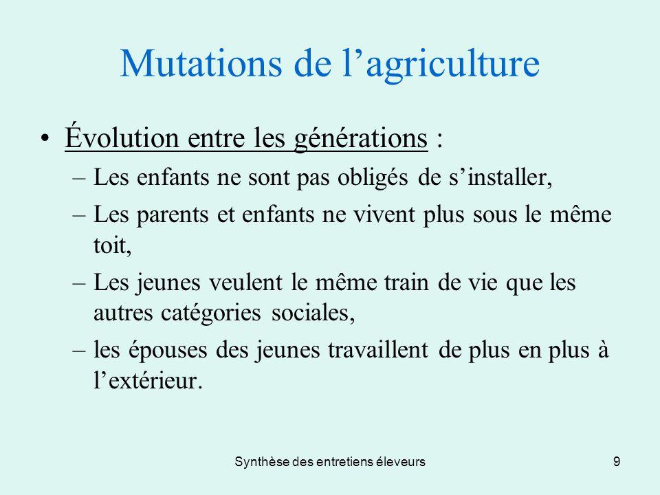 Synthèse des entretiens éleveurs9 Mutations de l'agriculture Évolution entre les générations : –Les enfants ne sont pas obligés de s'installer, –Les p