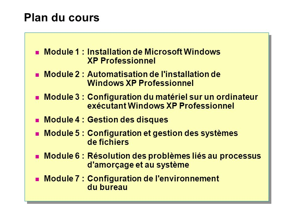 Plan du cours Module 1 :Installation de Microsoft Windows XP Professionnel Module 2 :Automatisation de l'installation de Windows XP Professionnel Modu