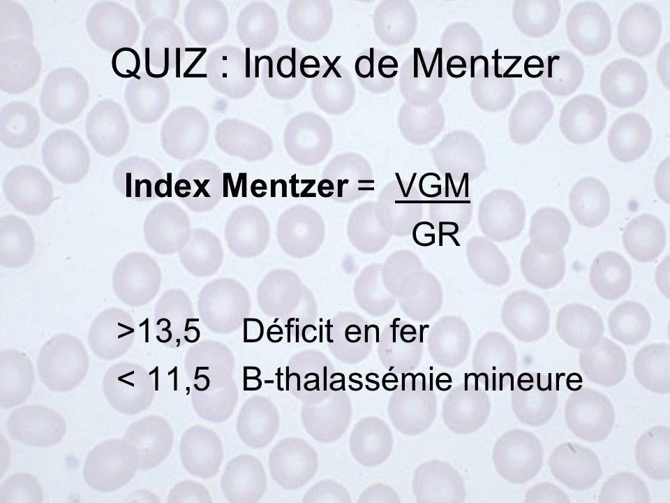 ParamètresNormalDéficit fer Anémie ferriprive Anémie chronique Hb et VGMNN  VGM n DVE< 15N  N-  Ferritine  g/L 1000±60  Fer sérique  mol/L 20,