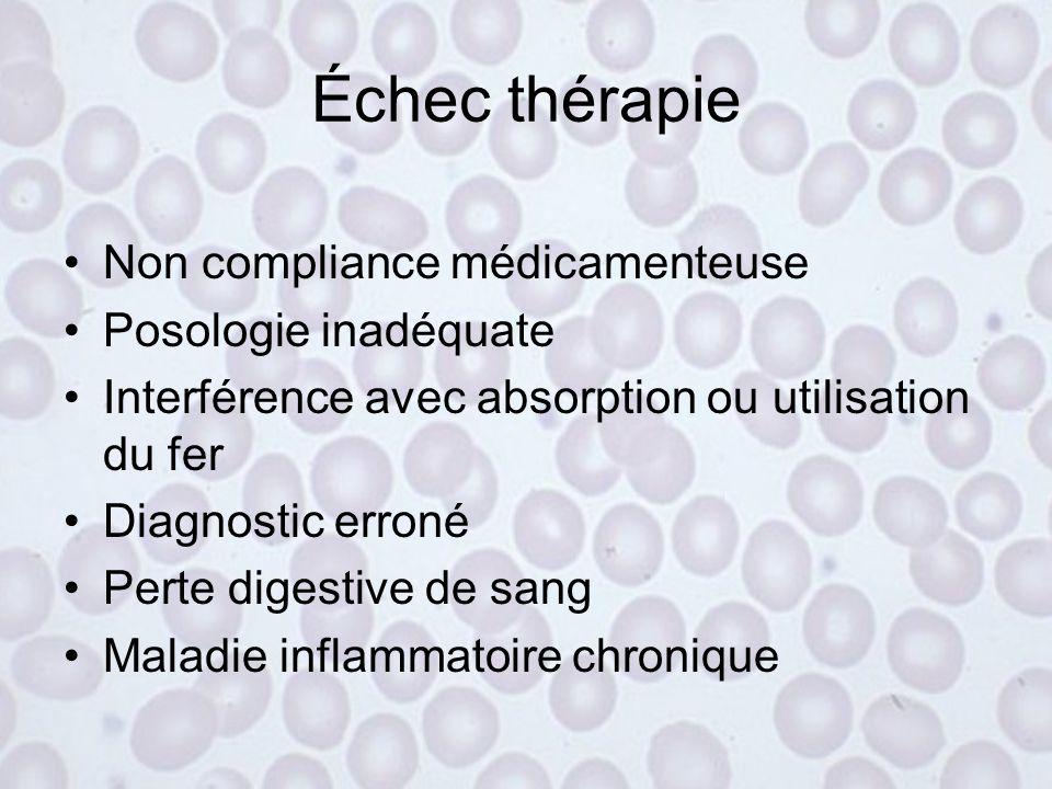 Réponse thérapeutique 1) Réticulocytose : pic 5-10 jours 2) Hémoglobine s'élève de 0,25-0,4 g/dl/jour (hématocrite de 1%/jour) x 7-10 jours puis 0,1-0