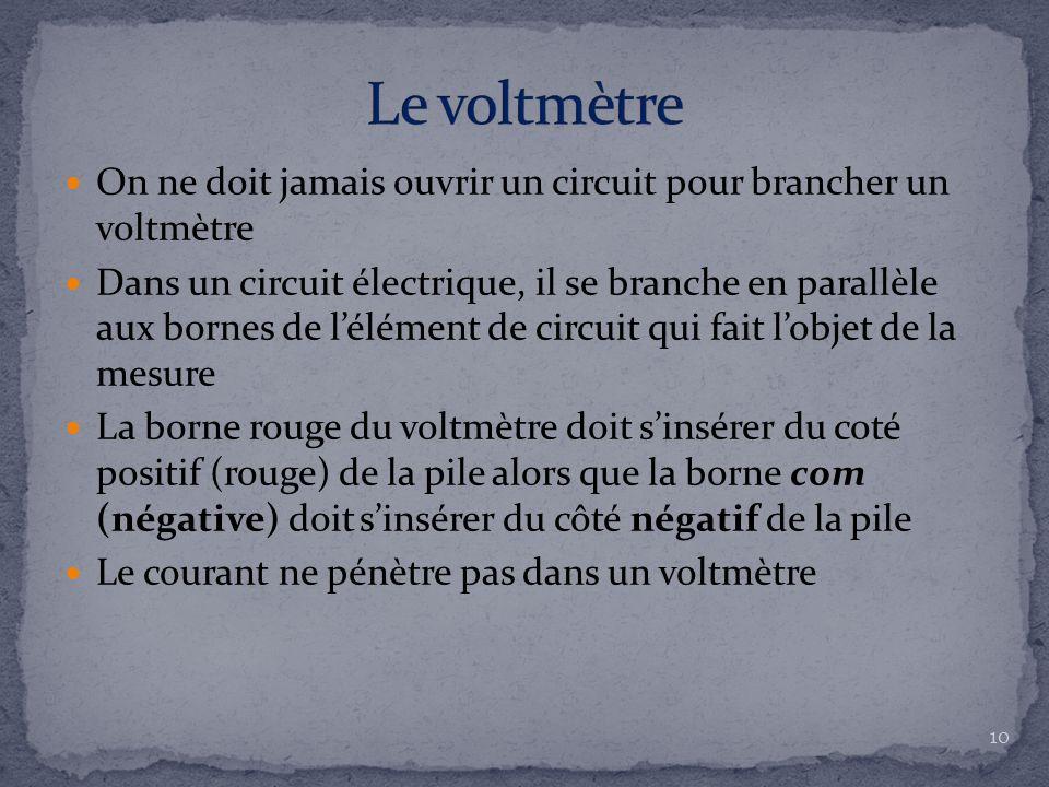 On ne doit jamais ouvrir un circuit pour brancher un voltmètre Dans un circuit électrique, il se branche en parallèle aux bornes de l'élément de circu