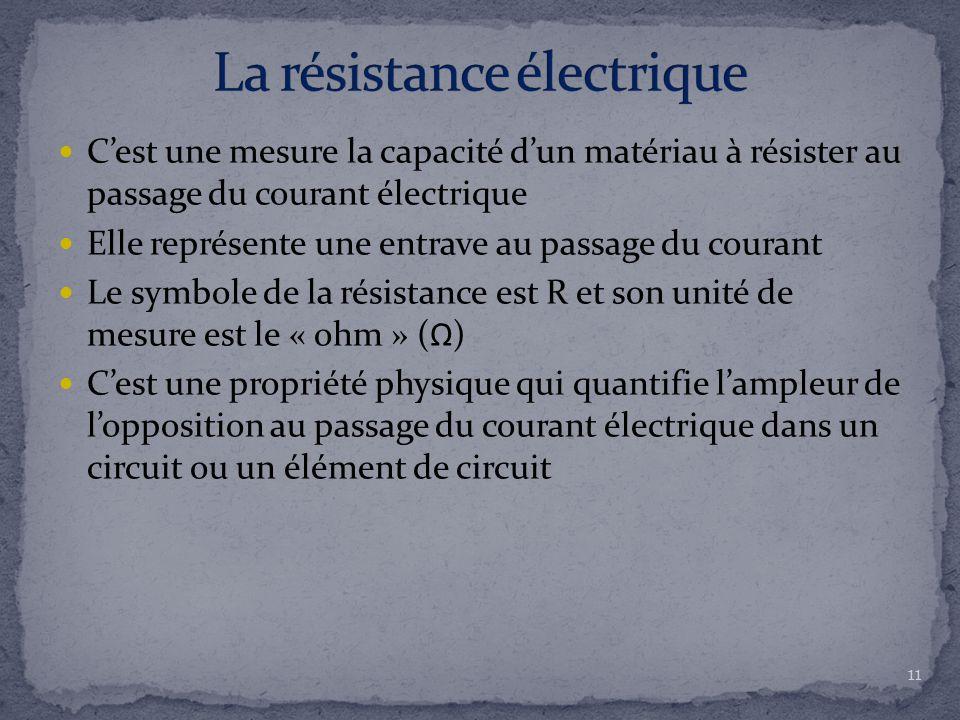 C'est une mesure la capacité d'un matériau à résister au passage du courant électrique Elle représente une entrave au passage du courant Le symbole de la résistance est R et son unité de mesure est le « ohm » (Ω) C'est une propriété physique qui quantifie l'ampleur de l'opposition au passage du courant électrique dans un circuit ou un élément de circuit 11