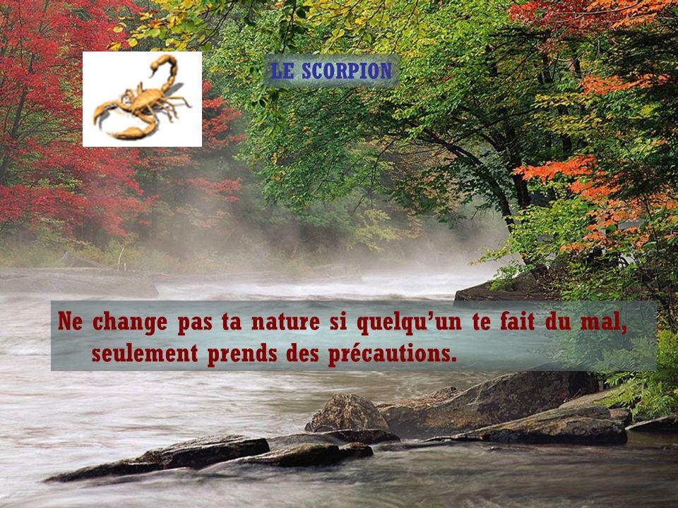 Le sage répondit : « La nature du scorpion est de piquer, il ne va pas changer sa nature et cela ne changera pas la mienne qui est d'aider et de servi