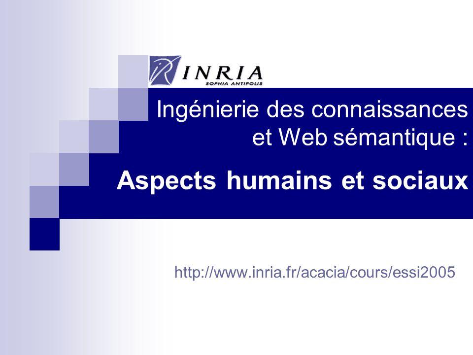 http://www.inria.fr/acacia/cours/essi2005 Ingénierie des connaissances et Web sémantique : Aspects humains et sociaux