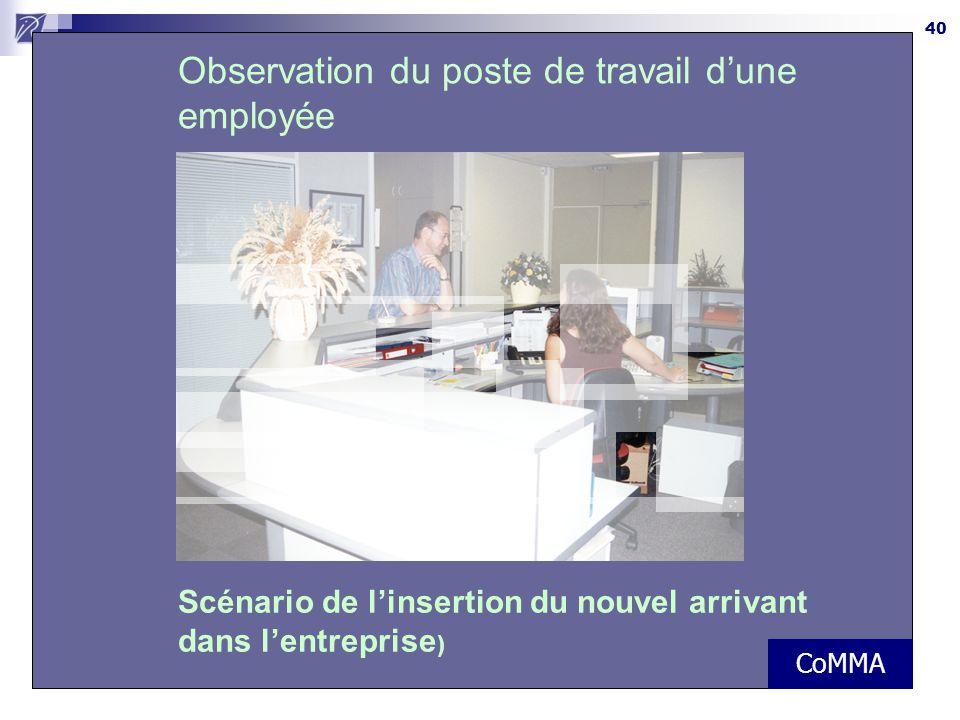 40 Observation du poste de travail d'une employée Scénario de l'insertion du nouvel arrivant dans l'entreprise ) CoMMA