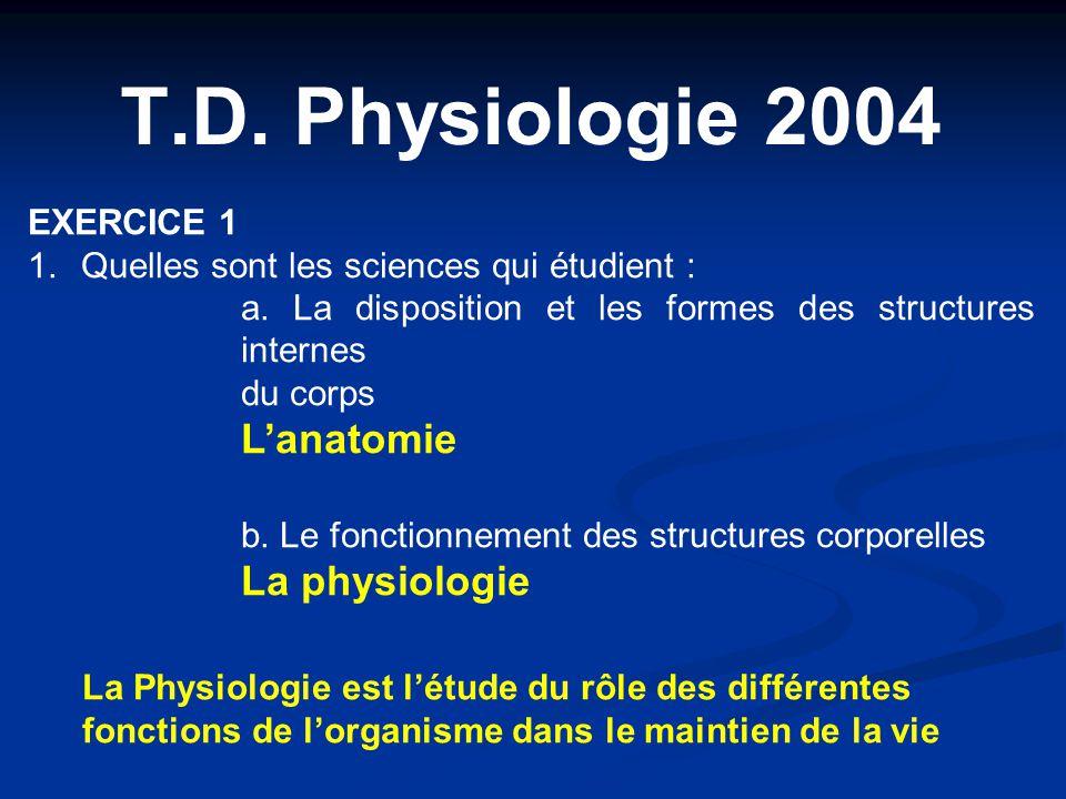 T.D. Physiologie 2004 EXERCICE 1 1.Quelles sont les sciences qui étudient : a. La disposition et les formes des structures internes du corps L'anatomi