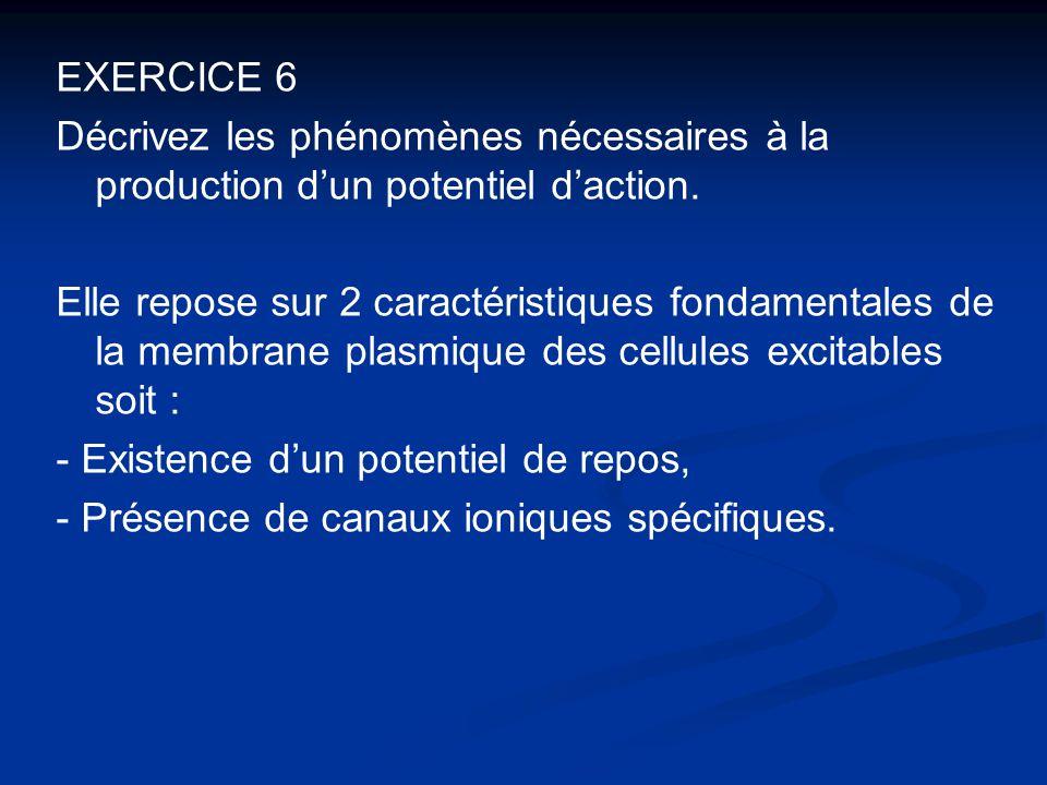 EXERCICE 6 Décrivez les phénomènes nécessaires à la production d'un potentiel d'action. Elle repose sur 2 caractéristiques fondamentales de la membran