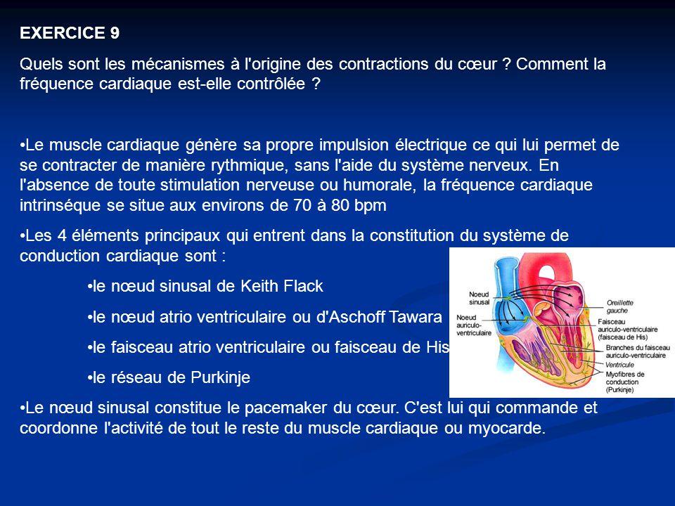 EXERCICE 9 Quels sont les mécanismes à l'origine des contractions du cœur ? Comment la fréquence cardiaque est ‑ elle contrôlée ? Le muscle cardiaque