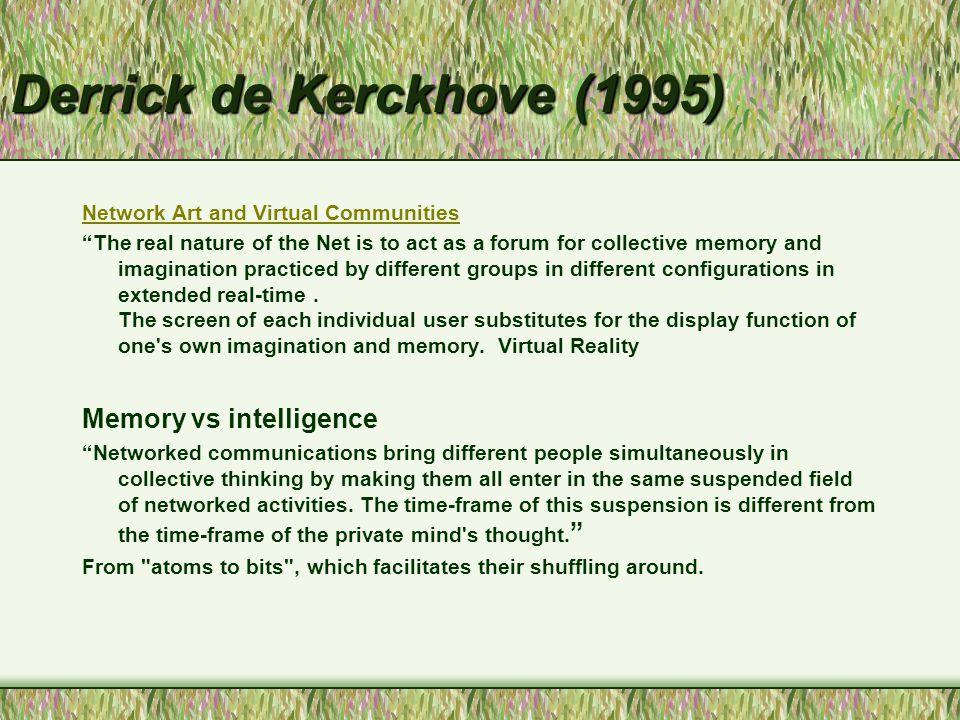 Filtres à la communication Dufresne (2001) Recherche automatisée - l 'information choisie pour nous Critères - pertinence, popularité, historique Filtres - contrôler le SPAM, Netnanny, popularité et effet sur les messages Espace privé et public Perte d 'espace privé Développement d 'une nouvelle intimité Transformation de nos rapports au monde Synchronie et asynchronie Dépendance à la cybercommunication