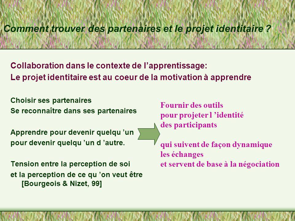 Importance du choix des partenaires Les choix sont basés sur la réputation et sur la mise en scène sociale de l 'identité des participants.