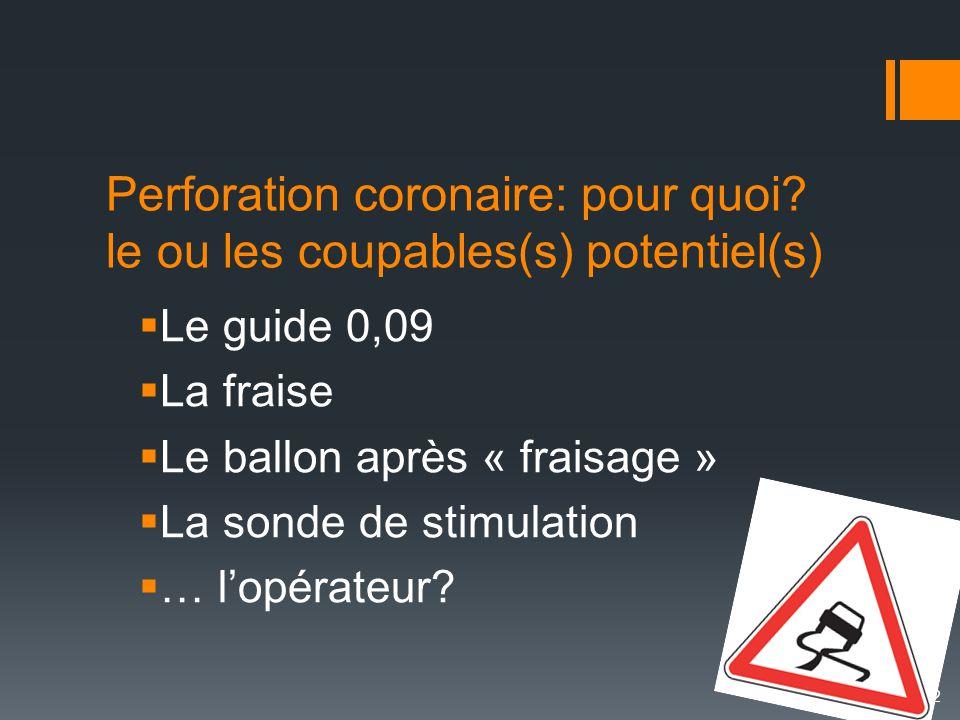 Perforation coronaire: pour quoi? le ou les coupables(s) potentiel(s)  Le guide 0,09  La fraise  Le ballon après « fraisage »  La sonde de stimula