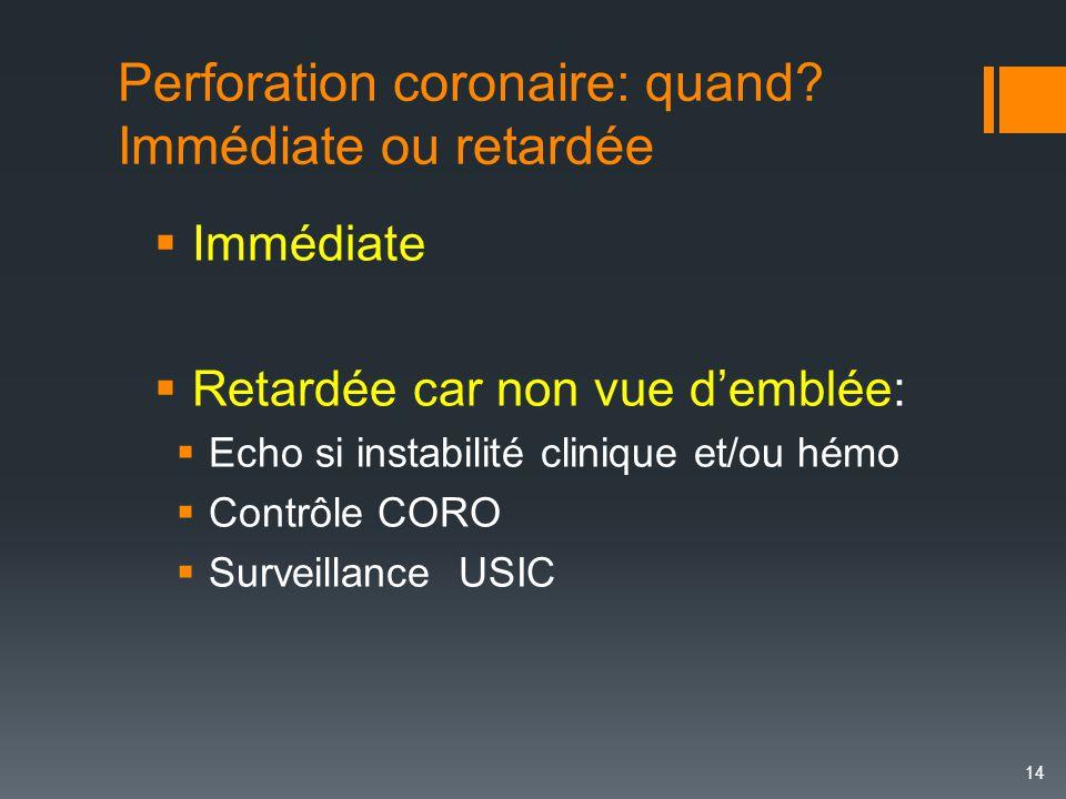 Perforation coronaire: quand? Immédiate ou retardée 14  Immédiate  Retardée car non vue d'emblée:  Echo si instabilité clinique et/ou hémo  Contrô