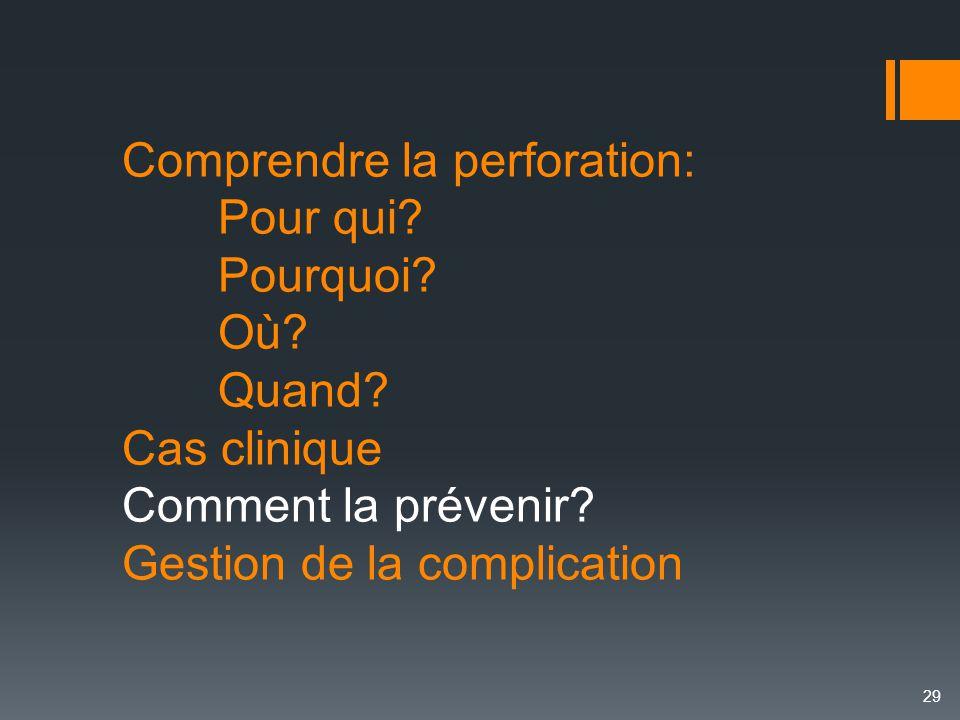 Comprendre la perforation: Pour qui? Pourquoi? Où? Quand? Cas clinique Comment la prévenir? Gestion de la complication 29