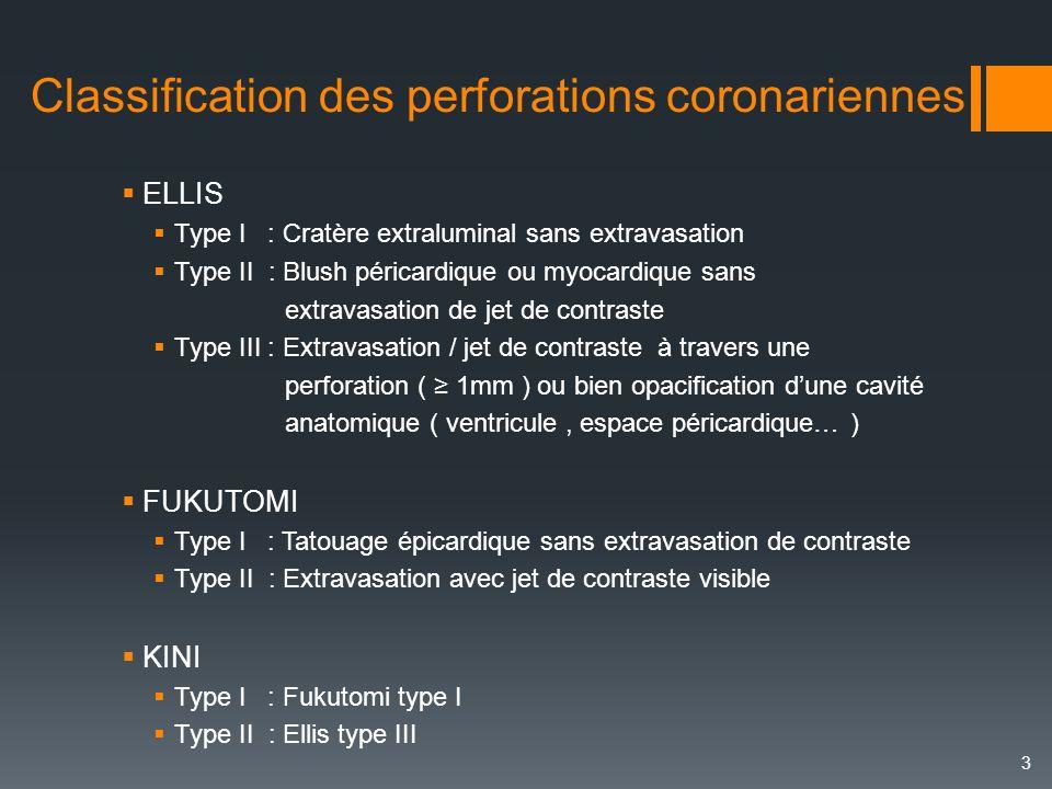 Classification des perforations coronariennes  ELLIS  Type I : Cratère extraluminal sans extravasation  Type II : Blush péricardique ou myocardique
