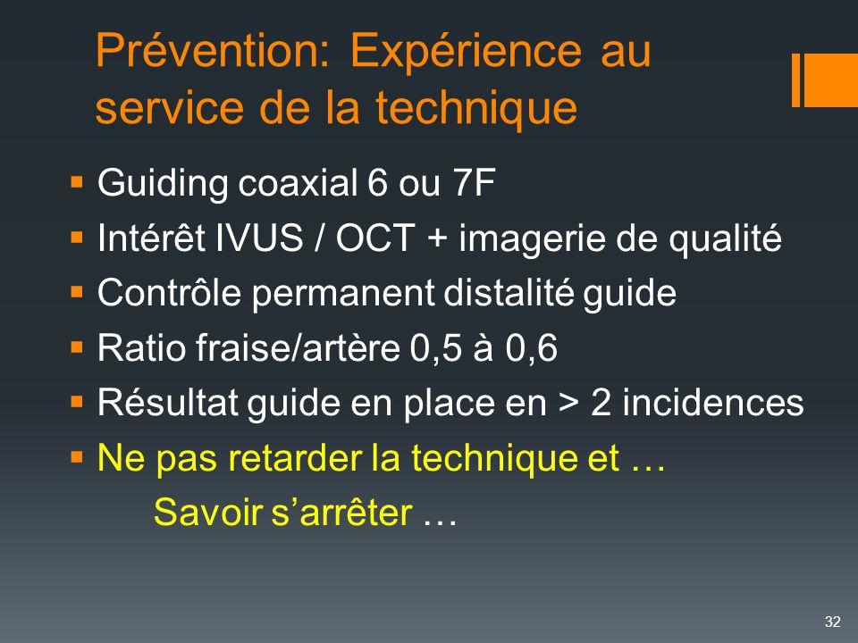 Prévention: Expérience au service de la technique  Guiding coaxial 6 ou 7F  Intérêt IVUS / OCT + imagerie de qualité  Contrôle permanent distalité