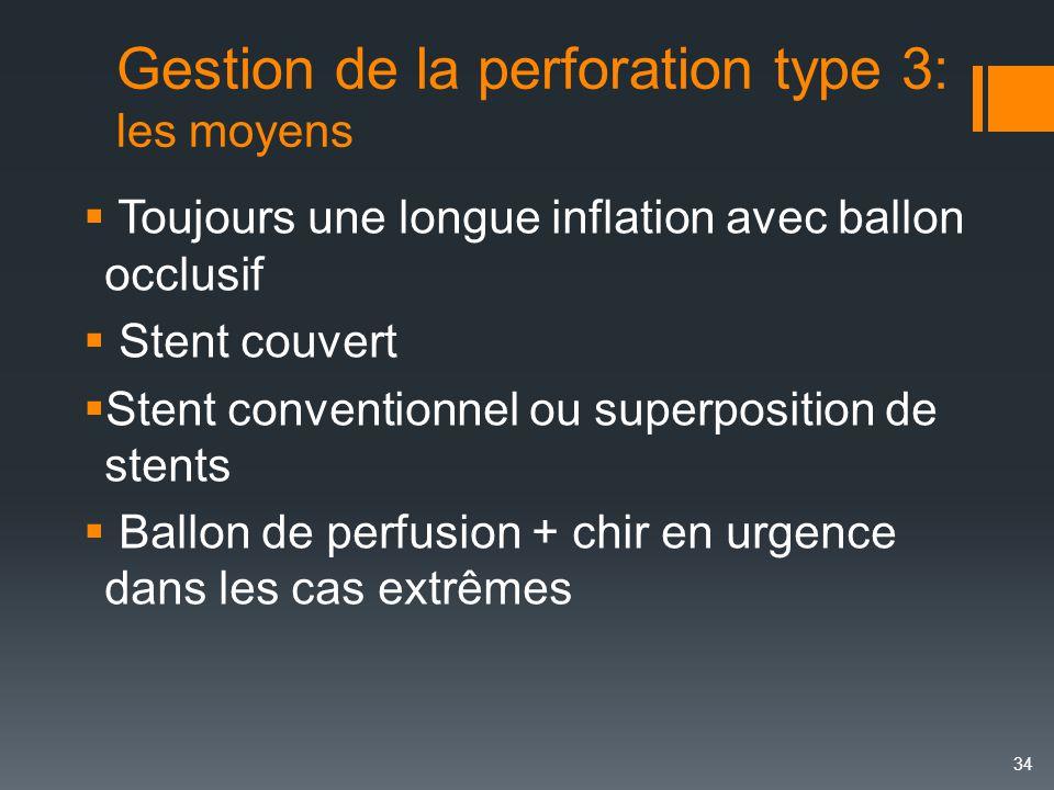 Gestion de la perforation type 3: les moyens  Toujours une longue inflation avec ballon occlusif  Stent couvert  Stent conventionnel ou superpositi