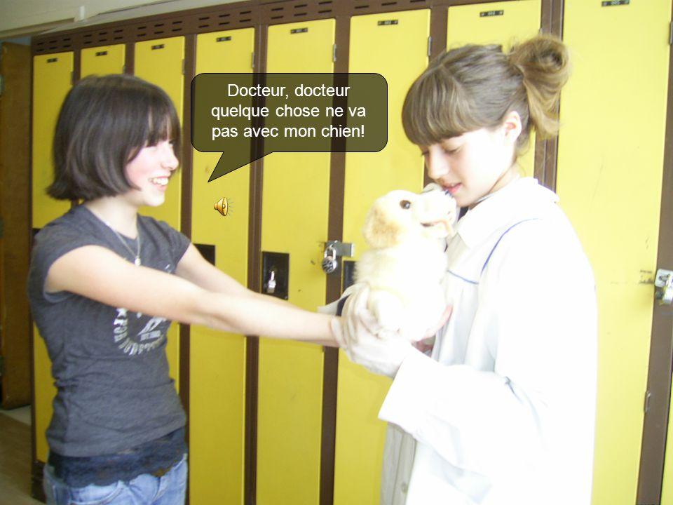Un jour Kelly marche chez le vétérinaire avec son chien très malade.