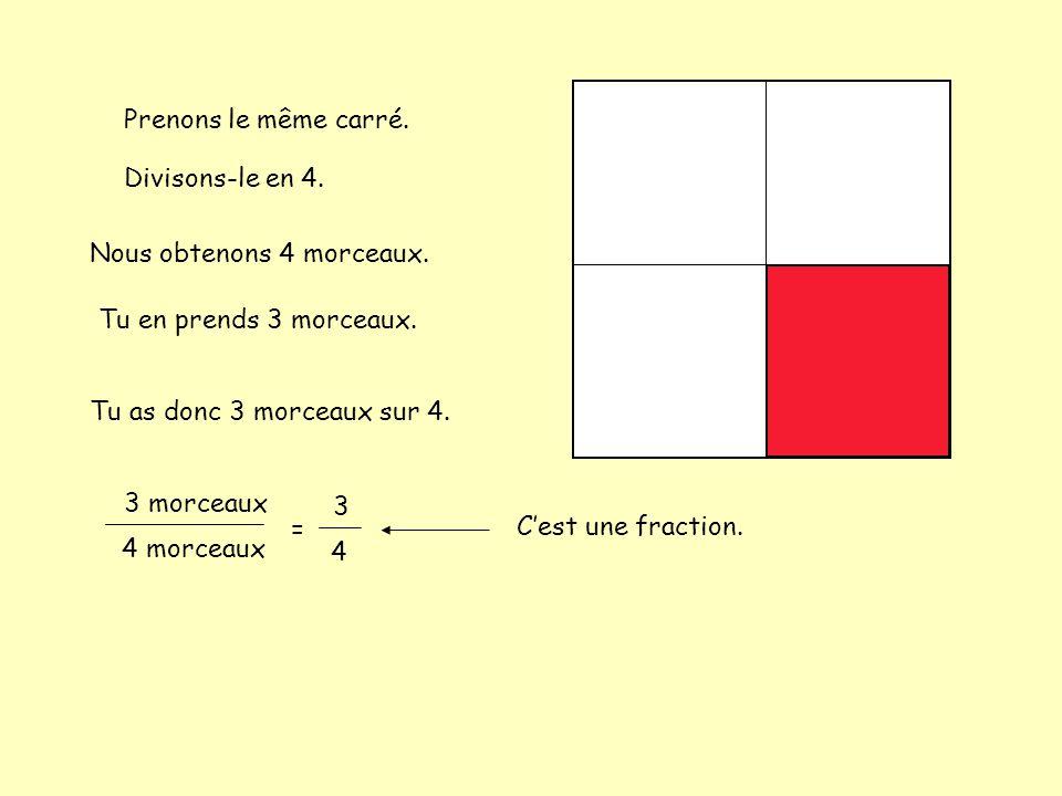 Prenons le même carré. Divisons-le en 4. Nous obtenons 4 morceaux. Tu en prends 3 morceaux. Tu as donc 3 morceaux sur 4. 3 morceaux 4 morceaux = 3 4 C