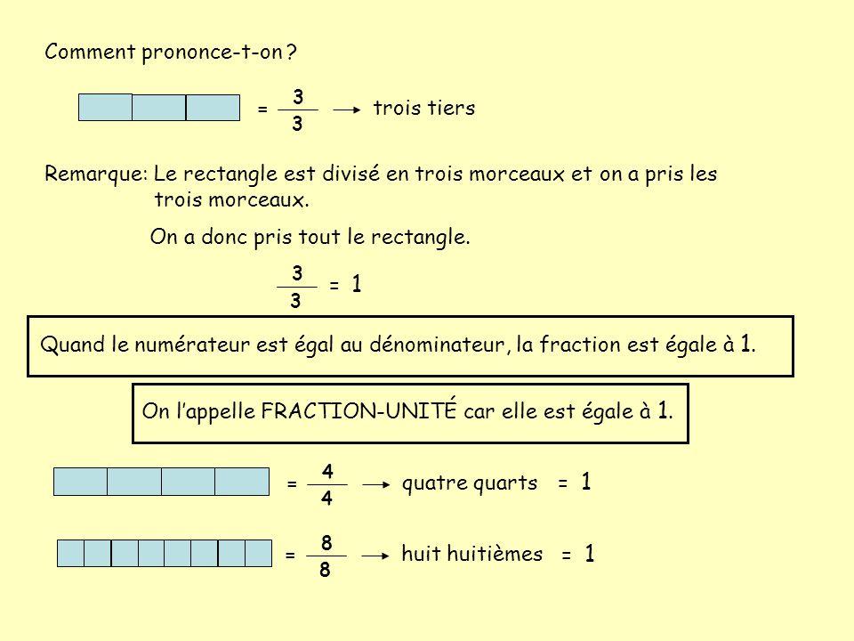 Comment prononce-t-on ? 3 3 = trois tiers Remarque:Le rectangle est divisé en trois morceaux et on a pris les trois morceaux. On a donc pris tout le r