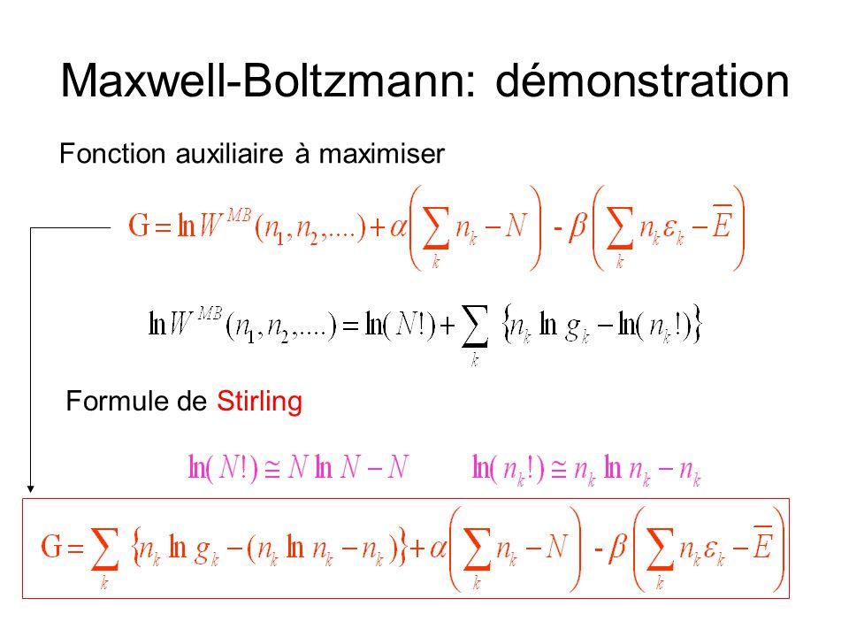 Maxwell-Boltzmann: démonstration Fonction auxiliaire à maximiser Formule de Stirling