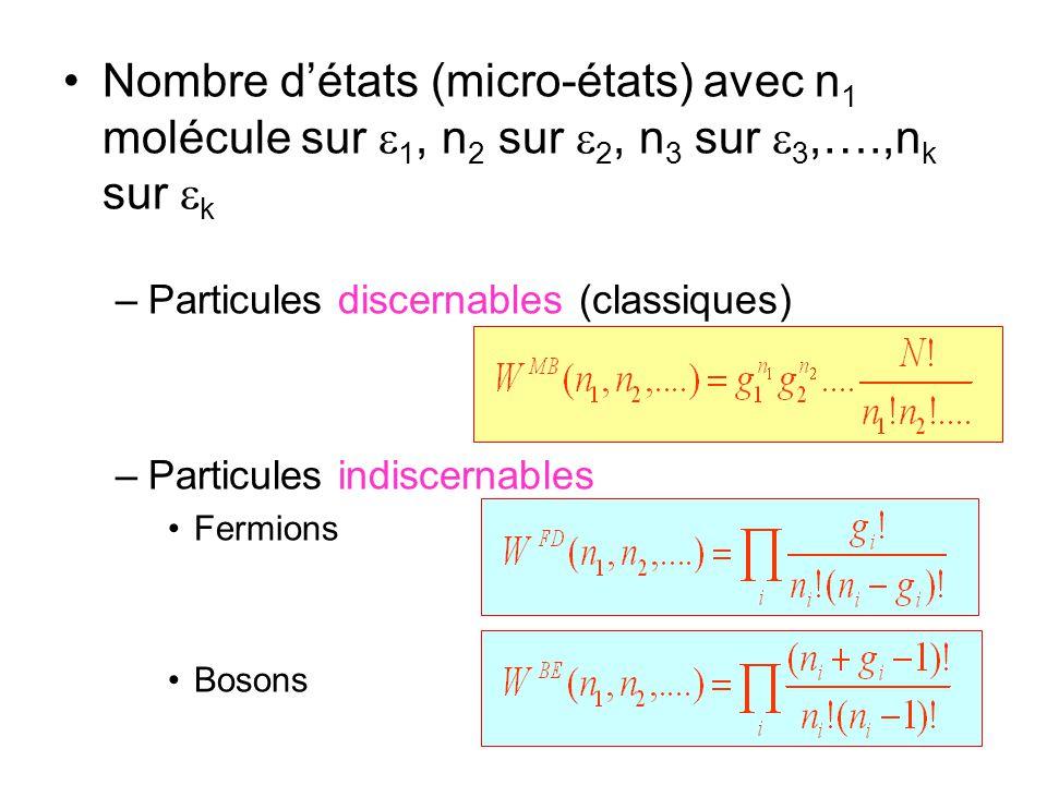 Nombre d'états (micro-états) avec n 1 molécule sur  1, n 2 sur  2, n 3 sur  3,….,n k sur  k –Particules discernables (classiques) –Particules indiscernables Fermions Bosons