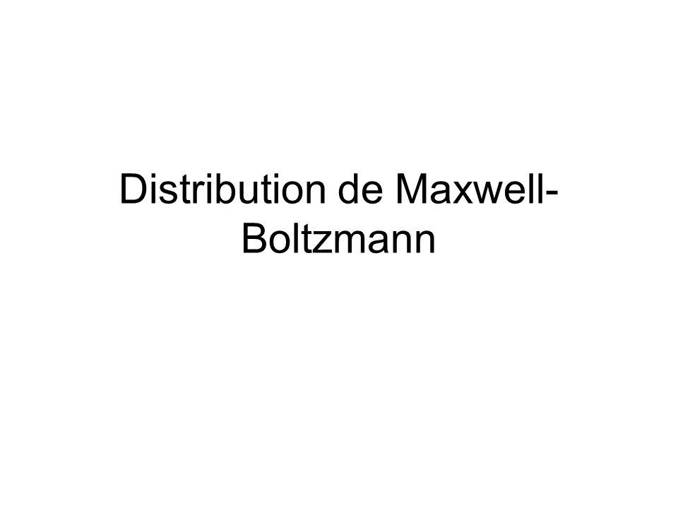 Distribution de Maxwell- Boltzmann
