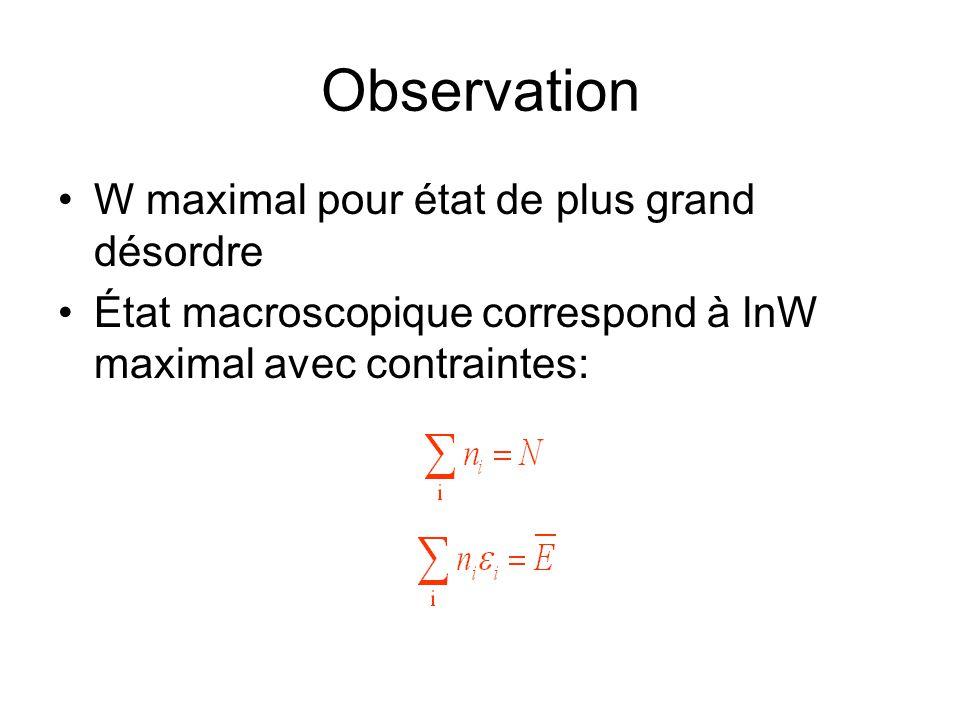 Observation W maximal pour état de plus grand désordre État macroscopique correspond à lnW maximal avec contraintes: