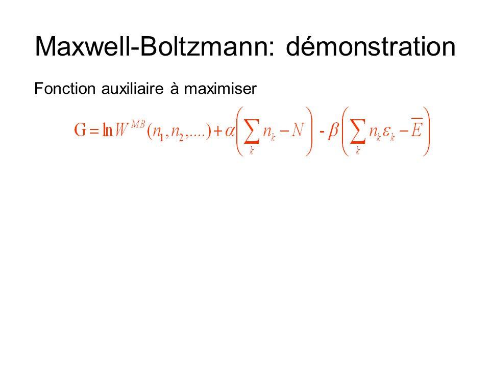 Maxwell-Boltzmann: démonstration Fonction auxiliaire à maximiser
