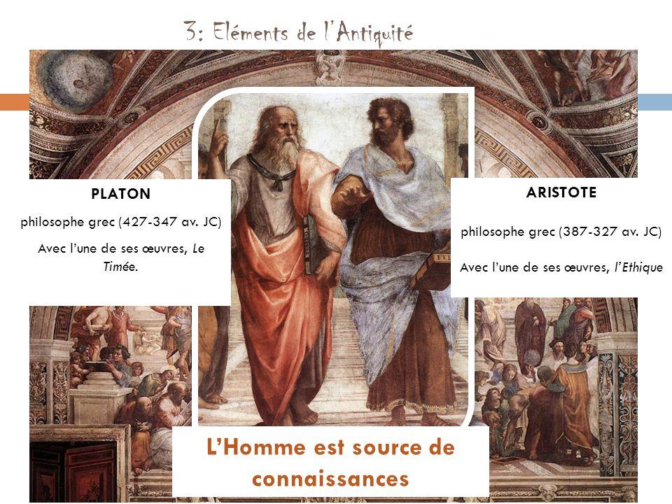 3: Eléments de l'Antiquité PLATON philosophe grec (427-347 av. JC) Avec l'une de ses œuvres, Le Timée. ARISTOTE philosophe grec (387-327 av. JC) Avec