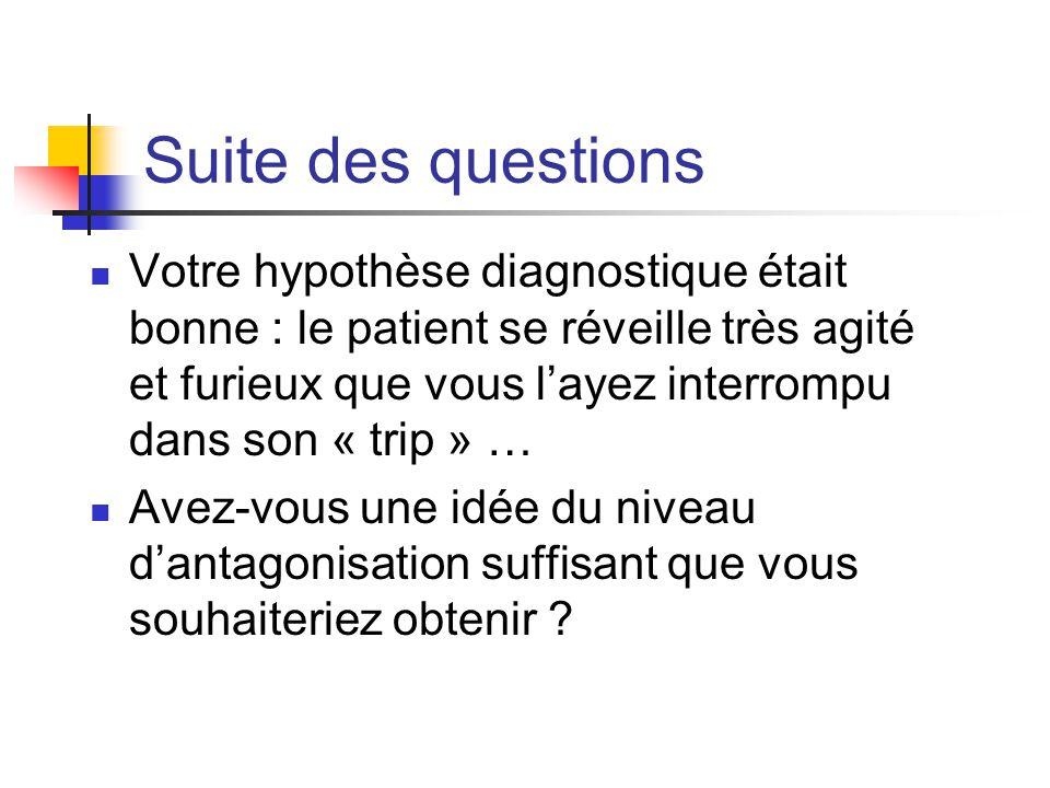 Suite des questions Votre hypothèse diagnostique était bonne : le patient se réveille très agité et furieux que vous l'ayez interrompu dans son « trip