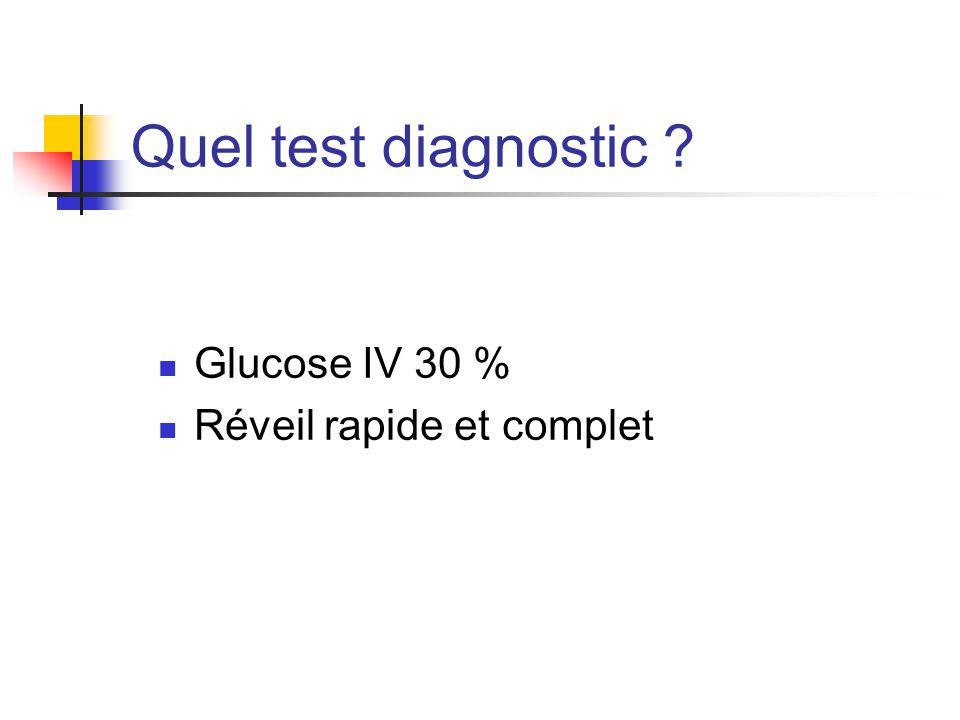 Quel test diagnostic ? Glucose IV 30 % Réveil rapide et complet