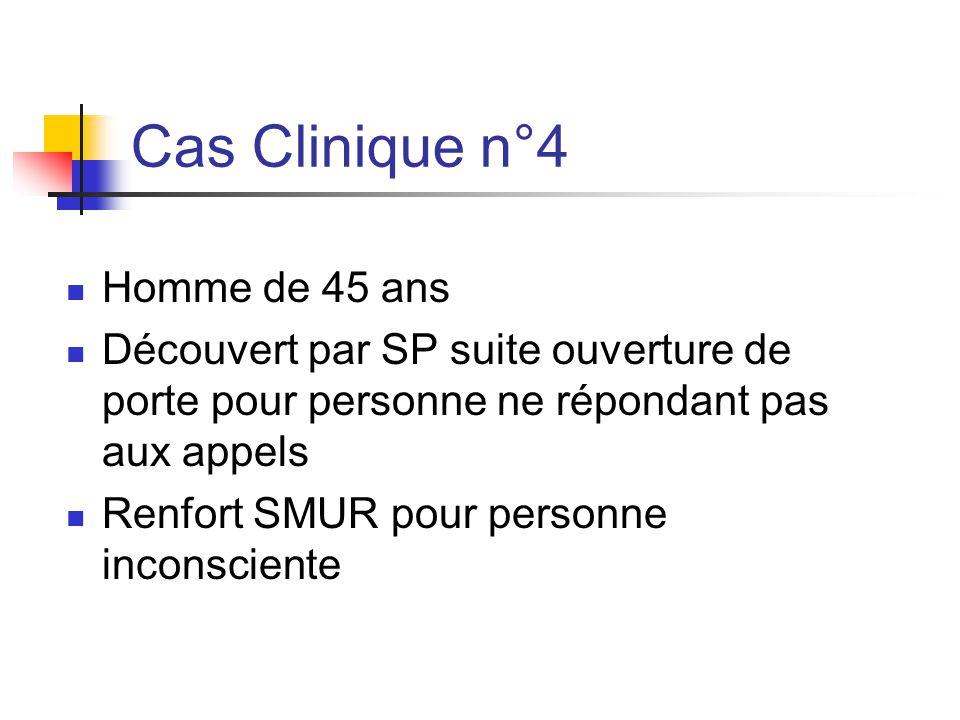 Cas Clinique n°4 Homme de 45 ans Découvert par SP suite ouverture de porte pour personne ne répondant pas aux appels Renfort SMUR pour personne incons