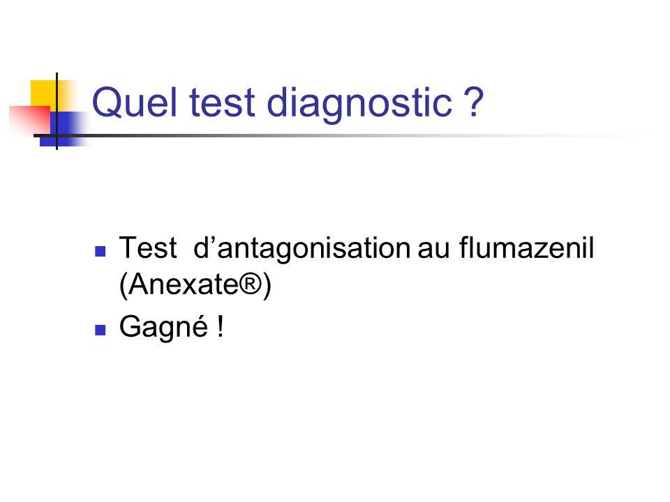 Quel test diagnostic ? Test d'antagonisation au flumazenil (Anexate®) Gagné !