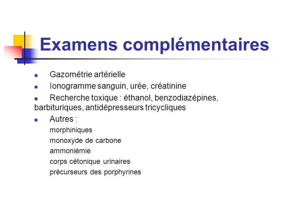 Examens complémentaires Gazométrie artérielle Ionogramme sanguin, urée, créatinine Recherche toxique : éthanol, benzodiazépines, barbituriques, antidé