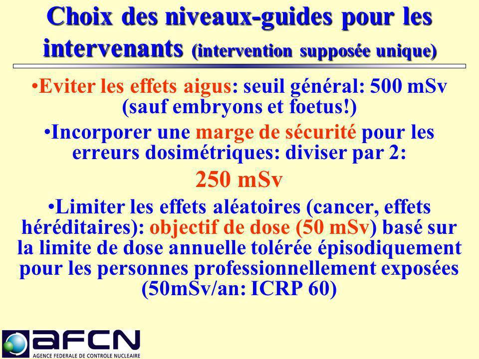 Choix des niveaux-guides pour les intervenants (intervention supposée unique) Eviter les effets aigus: seuil général: 500 mSv (sauf embryons et foetus