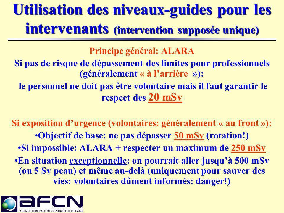 Utilisation des niveaux-guides pour les intervenants (intervention supposée unique) Principe général: ALARA Si pas de risque de dépassement des limite