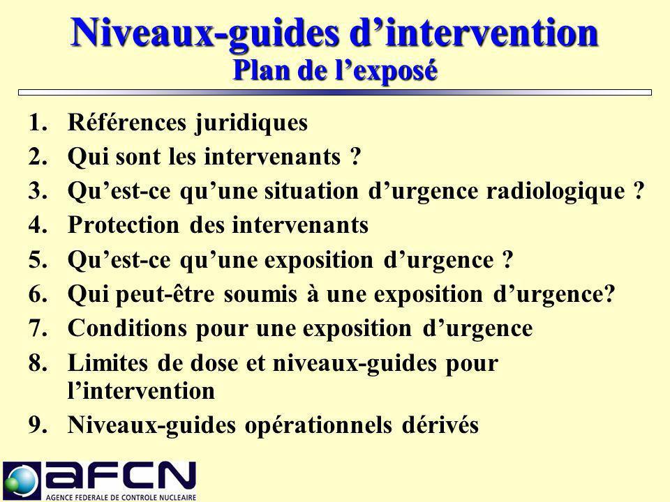 Références juridiques Décision de l'Agence du 17/10/2003 [MB du 24/11/2003] fixant les niveaux-guides d'intervention pour les situations d'urgence radiologiques.