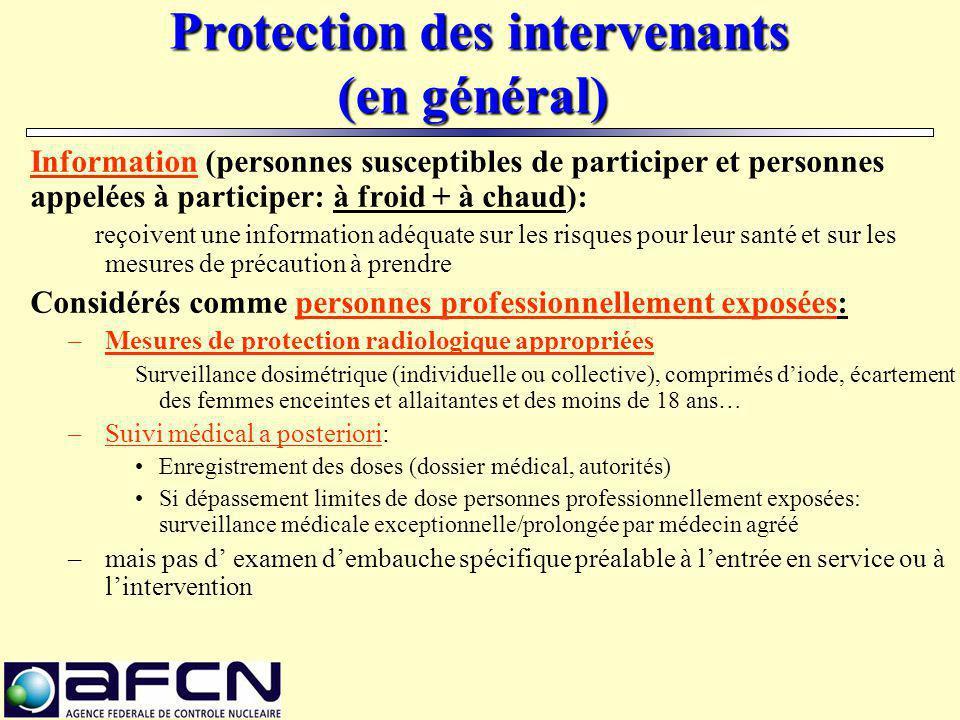 Protection des intervenants (en général) Protection des intervenants (en général) Information (personnes susceptibles de participer et personnes appel