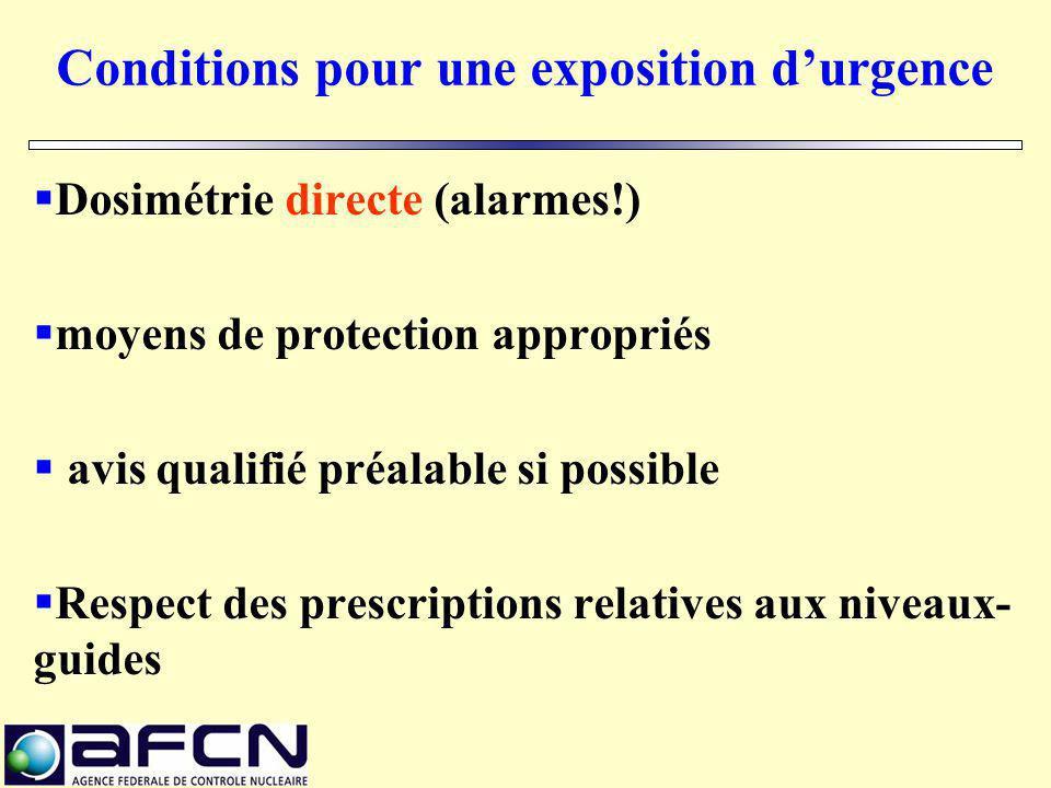Conditions pour une exposition d'urgence  Dosimétrie directe (alarmes!)  moyens de protection appropriés  avis qualifié préalable si possible  Res