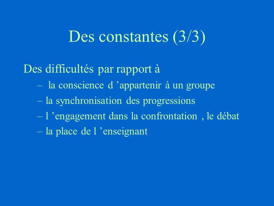 Des constantes (3/3) Des difficultés par rapport à – la conscience d 'appartenir à un groupe –la synchronisation des progressions –l 'engagement dans