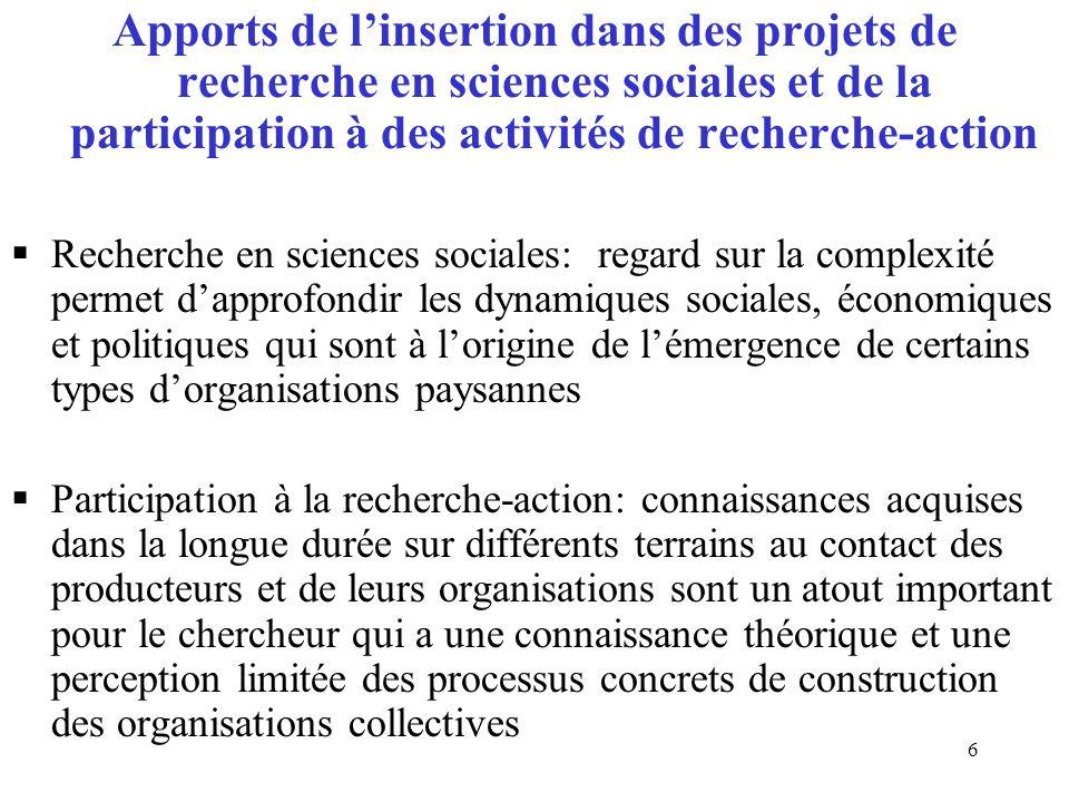 II) Réflexions issues d'un retour sur le terrain dans une position de chercheur :analyse de l'émergence d'une organisation d'éleveurs au Bénin 2.1) Des approches et des attentes différentes par rapport à l'émergence d'une organisation d'éleveurs et son implication dans la reconnaissance de la filière élevage  Participation à l'ANR ECLIS : objectifs de l'ANR, référence en matière de programme de recherche  Objectif général: analyser la contribution de l'élevage à la vulnérabilité et à l'adaptabilité rurale aux changements environnementaux et sociétaux en Afrique de l'Ouest  Objectif spécifique: analyser le rôle des organisations d'éleveurs dans l'accès aux ressources pastorales et dans l'adaptation aux changements  Choix justifié par l'émergence de l'Association nationale des organisations professionnelles des éleveurs au Bénin  Analyse des approches et des attentes du chercheur, des acteurs associatifs et des experts du point de vue de:  Leur positionnement  La temporalité  L'éthique 7
