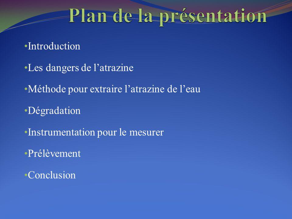 Introduction Les dangers de l'atrazine Méthode pour extraire l'atrazine de l'eau Dégradation Instrumentation pour le mesurer Prélèvement Conclusion