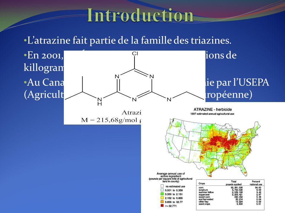 L'atrazine fait partie de la famille des triazines. En 2001, les États-Unis ont utilisé 2,3 billions de killogrammes d'atrazine. Au Canada, en 2009 l'